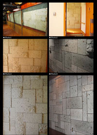 デザインランダム方形貼壁面【大谷石】