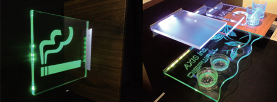 LEDによる、光る透明棚板・案内板「Dispwall」とは・・・