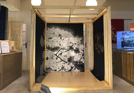 西陣織インテリアファブリックをフランス・パリのショールームESPACE DENSANにて期間限定で展示中