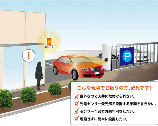 駐車場出入口での出会い頭事故を防ぐ通過検知センサー 製品紹介