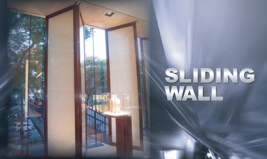 動く壁面がフロアを大きく活かす「スライディングウォール」