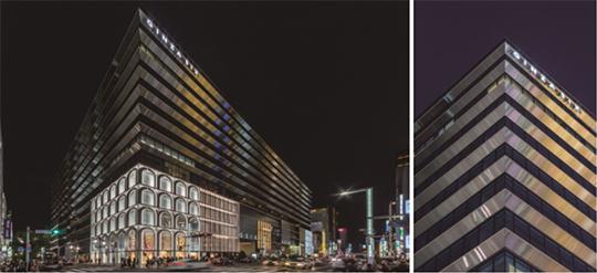 「GINZASIX」に採用、街の光景を映し出すデザインで昼夜の表情演出