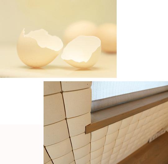 卵の殻をリユースしたインテリア建材を展示します 展示会