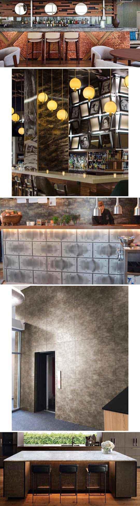 店舗やパブリックスペースにおける壁面やカウンター腰を美しく引き立てる「デザインメタルパネル」
