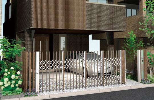 スリット格子によく似合うデザインの伸縮ゲート「エバーアートゲート」車庫用門も含めたトータルコーディネートが可能 新製品