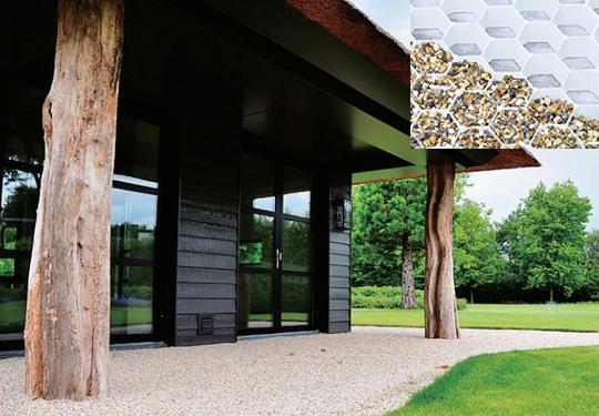 砂利敷きのアプローチ・庭・屋上庭園・駐車場に最適、魔法の砂利安定材