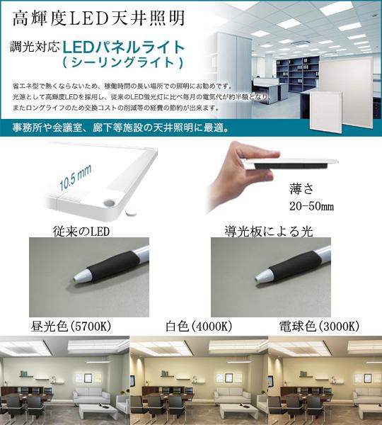 LEDパネルライト(シーリングライト) 導光板薄型照明 製品紹介