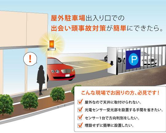 屋外駐車場出入り口での、出会い頭事故対策を簡単に