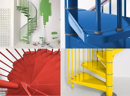 カラーバリエーション豊富なarke螺旋階段「STEELスチール」