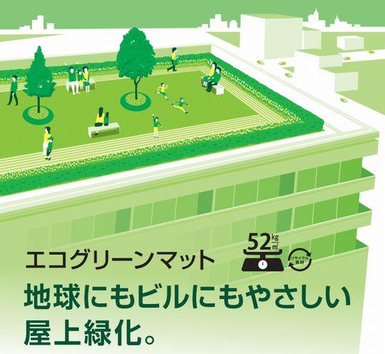地球にもビルにもやさしい屋上緑化『エコグリーンマット』
