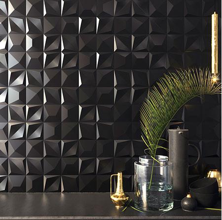 空間の特徴を大きく色付け印象を決定づける壁面を魅力的な壁面へと創造する3D装飾タイル「Shapes」