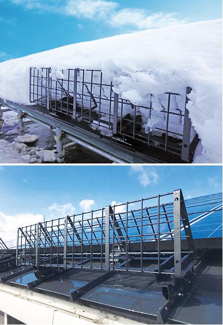 太陽光パネルからの落雪防止に効果を発揮!