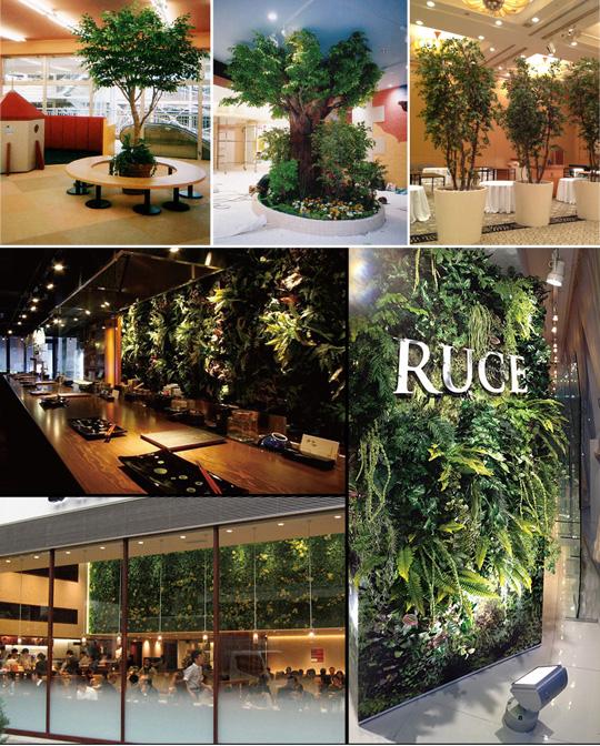 横浜ディスプレイミュージアムの特注大型樹木で空間に癒しを。