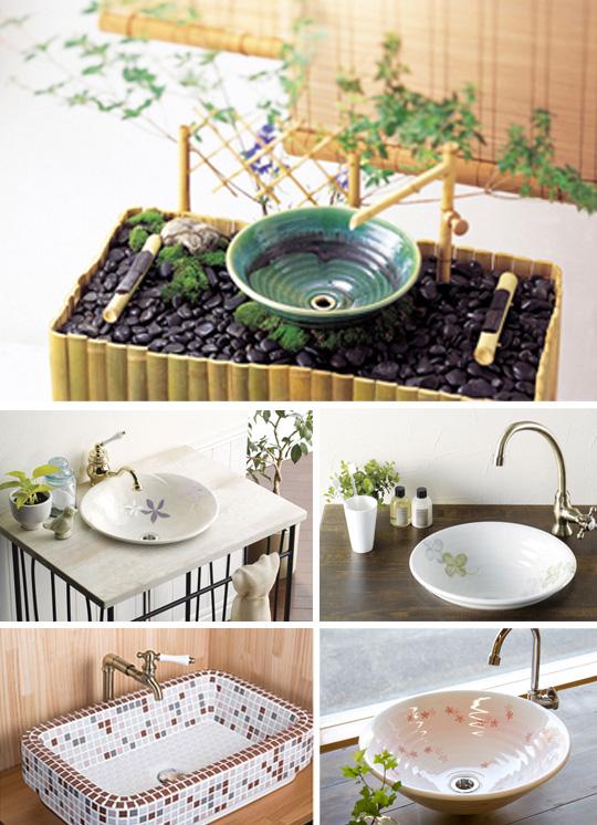 美濃焼製手洗い鉢・洗面ボウル・デザインミラー・ガラスアート表札などオリジナル製品を販売