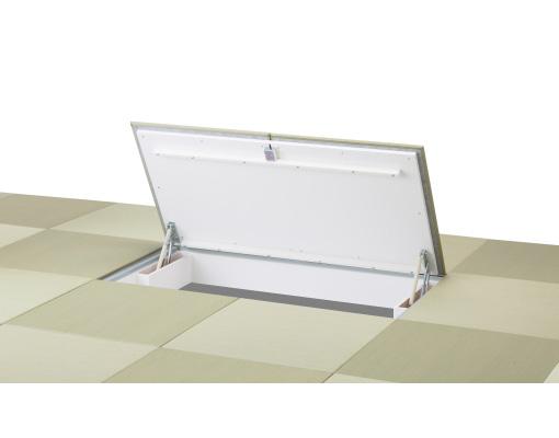新製品「ガスダンパー式大型畳下開口ハッチ」のご紹介です。