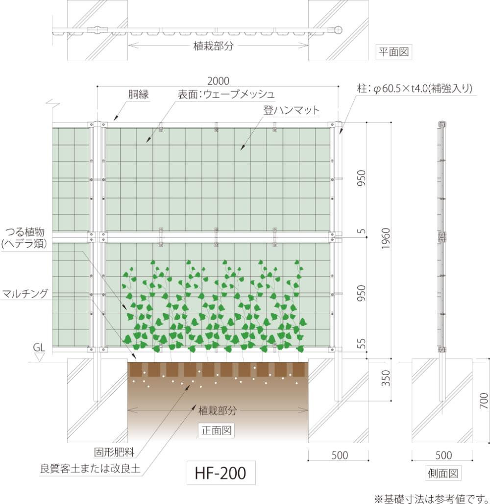 つる植物を用いた緑化型目かくしフェンスヘデラ登ハンシステム「ツルパワーフェンス」