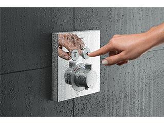 シャワーセレクト埋込式サーモスタットバス・シャワー<br> 混合水栓2アウトレット 155x155