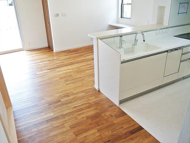 チークユニ床暖房フローリング(15x75x1818mm、無塗装・塗装)