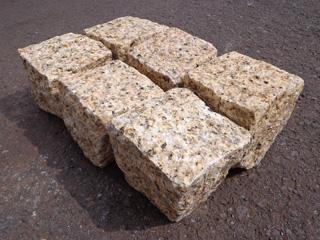 景観石材 舗石 ビエトイエロー キューブ