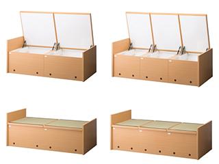 ガスダンパー式仮眠ベッド収納2連タイプ/3連タイプ