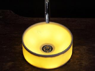 透ける陶器信楽透器の光る洗面器<br> 【KEISHOU 蛍照 丸】
