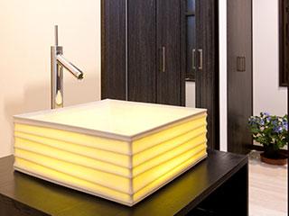 透ける陶器信楽透器の光る洗面器<br> 【SUIRIN 水輪】