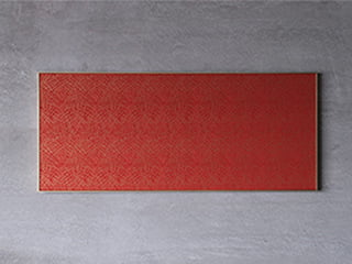 龍村美術織物【アートパネル】「敷松葉(赤)」〈横長仕様〉