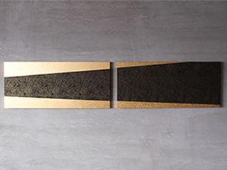 龍村美術織物【アートパネル】「菊もみ(黒金)〈横長2枚仕様〉」